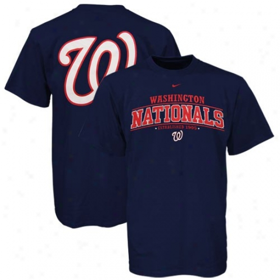 Washington Nationals T Shirt : Nike Washington Nationals Youth Navy Blue Arched Date T Shirt