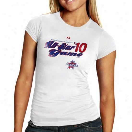Washington Nationals Tees : Majestic 2010 Mlb All-star Game Ladies White Social Tees