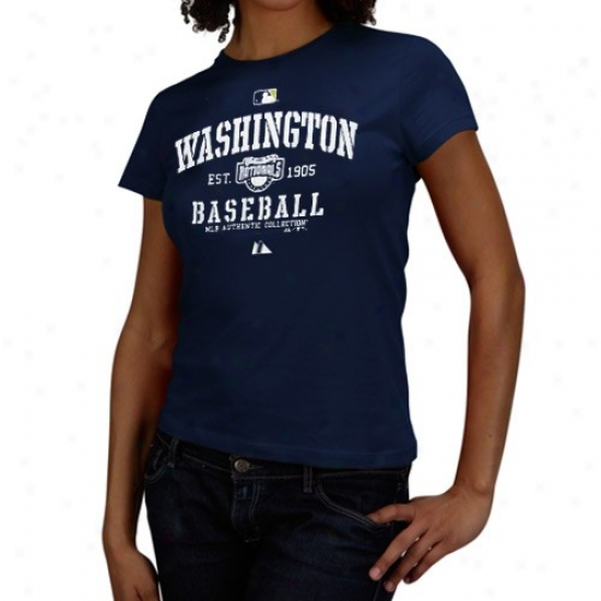 Washington Nationals Tees : Majestic Washington Nationals Ladies Navy Blue Ac Classic Tees