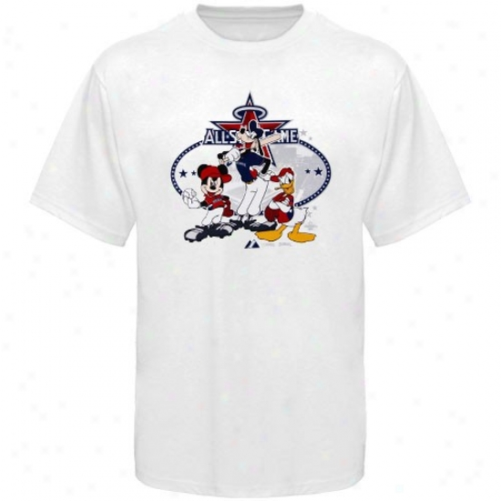 Washington Nationals Tshirt : Majestic 2010 Mlb All-star Game Whute Disney Group Tshirt