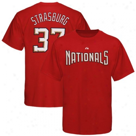 Washington Nationals Tshirt : Majestic Washington Nationals #37 Stephen Srrasburg Red Player Tshirt
