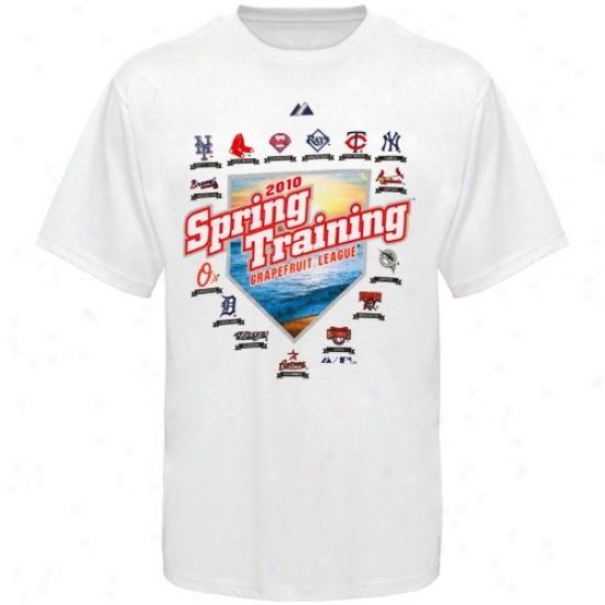 Washington Nationals Tshirts : August Grapeftuit Lague White 2010 Mlb Spring Training Map Tshirts