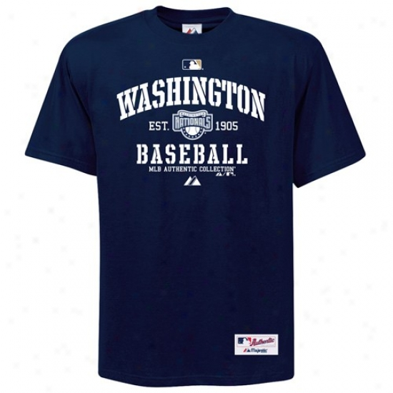 Washington Nationals Tsnirts : Majestic Washington Nationals Nvy Blue Ac Classic Tshirts