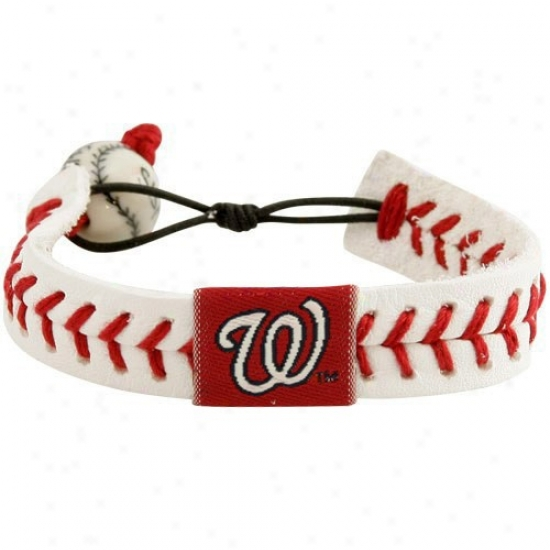 Washington Nationals White Leather Baseball Seam Bracelet