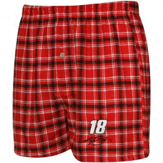#18 Kyle Busch Red-black Plaid Match-up Boxer Shorts