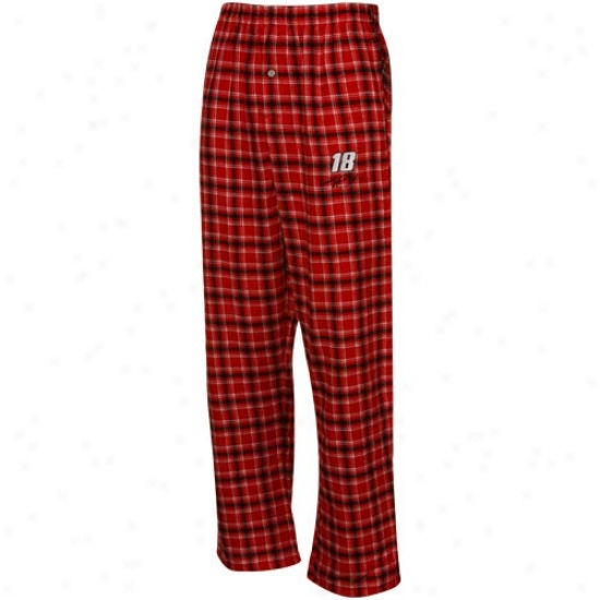 #18 Kyle Busch Red-black Plaid Match-up Pajama Pants