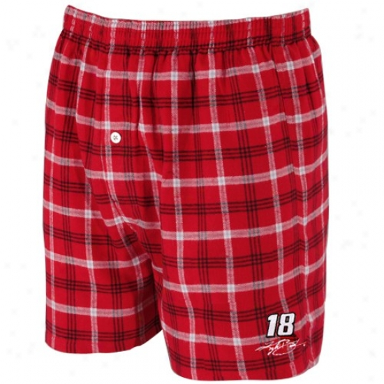 #18 Kyle Busch Red Plaid Tailgate Boxer Shorts