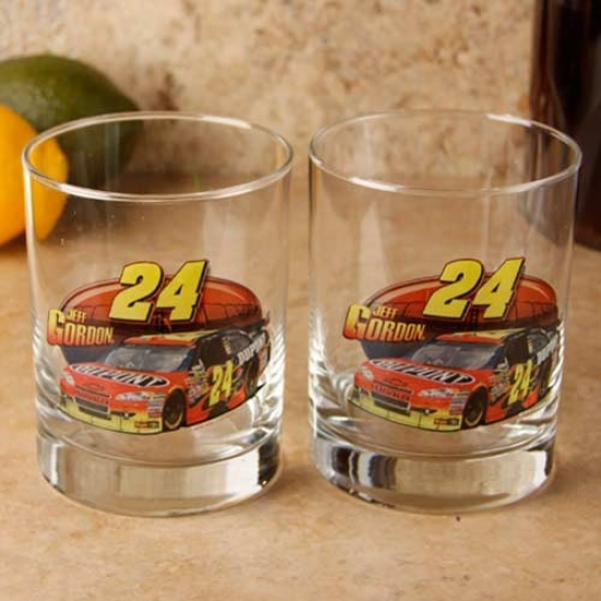 #24 Jeff Gordon 2-pack Enhanced Hi-def 14oz. Executive Rock Glass