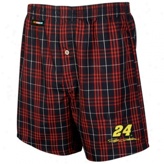#24 Jeff Gordon Black Plaid Event Boxer Shorts