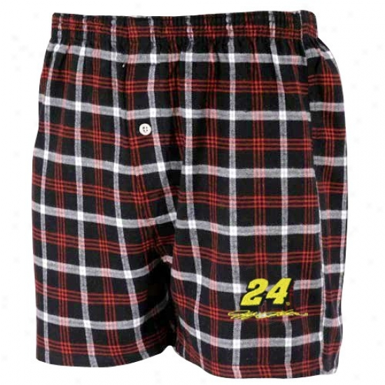 #24 Jeff Gordon Black Plaid Tailgate Boxer Shorts