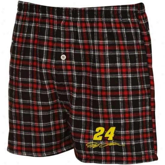 #24 Jeff Gordon Red-black Plaid Match-up Boxer Shorts