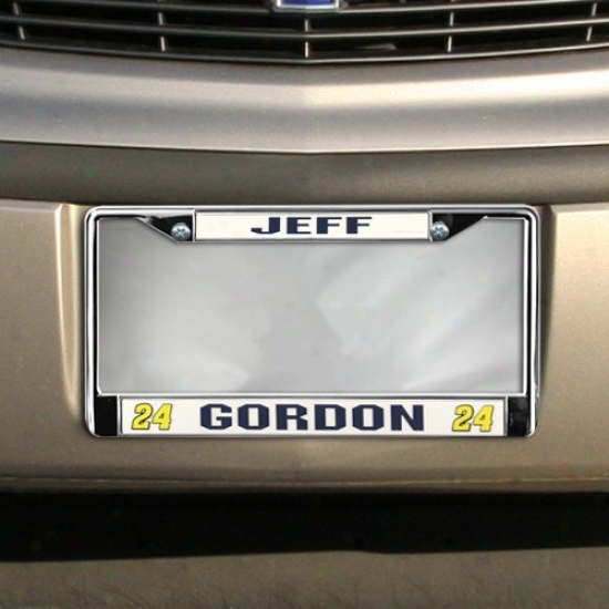 #24 Jeff Gordon Silver Metal Laxity Plate Frame