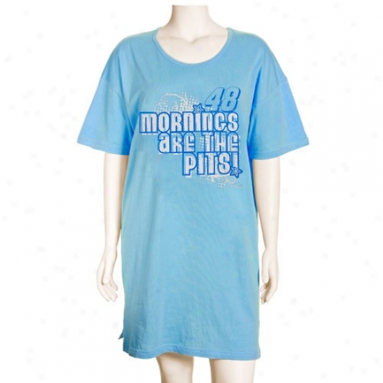 #48 Jimmie Johnson Ladies Light Blue Mornings Are The Pits Nightshirt