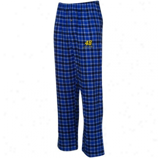 #48 Jimmie Johnson Royal Blue-black Plaid Match-up Pajama Pants