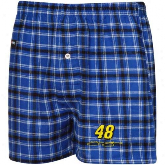 #48 Jimmie Johnson Royal Blue-black Plaid Match-up Boxer Shorts