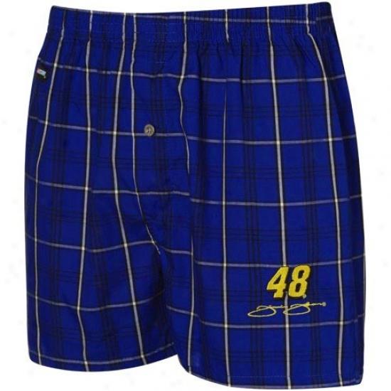 #48 Jimmie Johnson Royal Blue-white Plaid Boxer Shorts