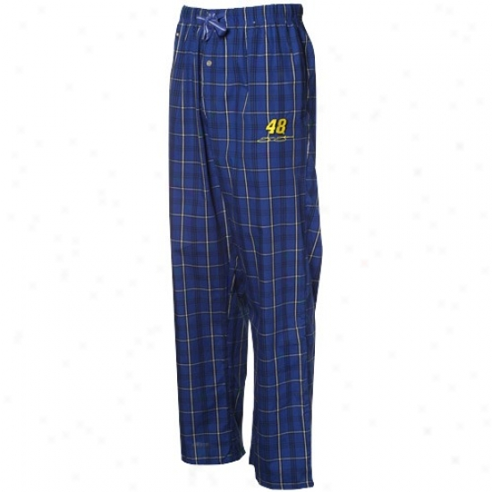 #48 Jimmie Johnson Kingly Blue-white Plaid Pajama Pants