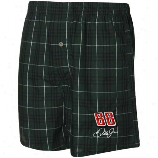 #88 Dale Earnhardt Jr. Green Plaid Boxer Shorts