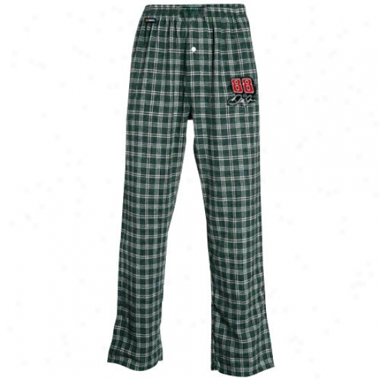 #88 Dale Earnhardt Jr. Green Plaid Tailgate Pajama Pants