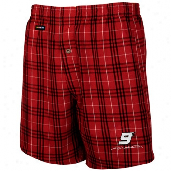 #9 Kasey Kahne Red Plaid Event Boxer Shorts