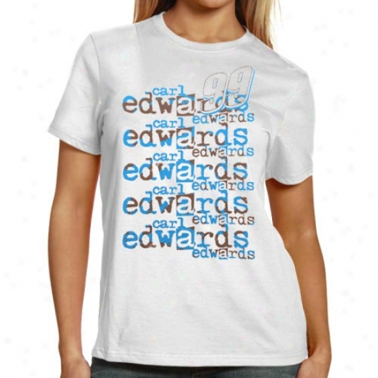 Carl Edwards Attire: #99 Carl Edwards Ladies White Repeat Names T-shirt