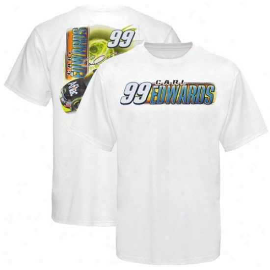 Carl Edwards Attire: #99 Carl Edwards White Drive Shaft T-shirt
