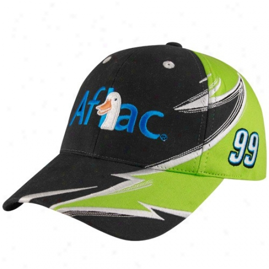 Carl Edwards Hats : #99 Black Aflac Racing Adjustable Hays