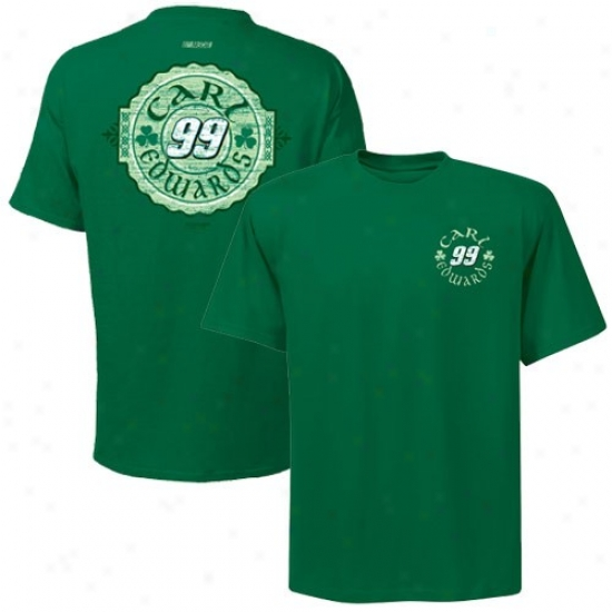 Carl Edwards Shirt : #99 Carl Edwards Kelly Green Tried And True Shirt