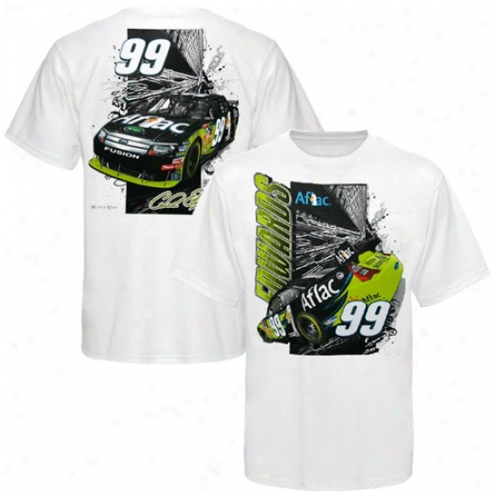 Carl Edwards Shirts : #99 Carl Edwards White Front And Back Shirts