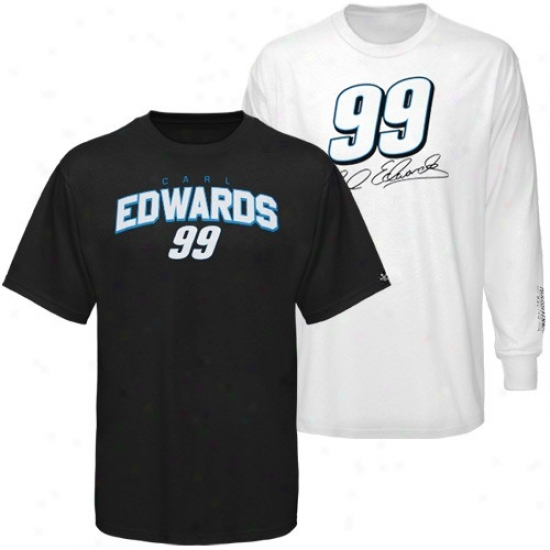 Carl Edwards Tee : #99 Carl Edwards Black-white 3-in-1 Tee Combo Pack