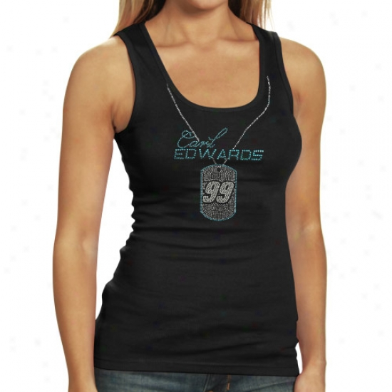 Carl Edwards Tee : #99 Carl Edwards Ladies Black Dog Tag Premium Tank Top
