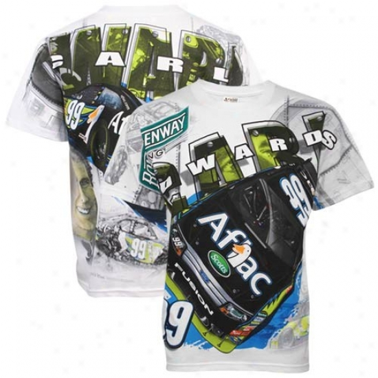 Carl Edwards Tees : #99 Carl Edwards White Tonal Print Tees