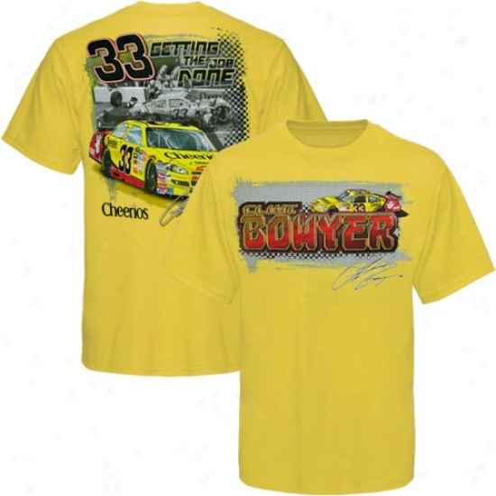 Clint Bowyer Attire: #33 Clint Bowyer Gold Front And Back T-shirt