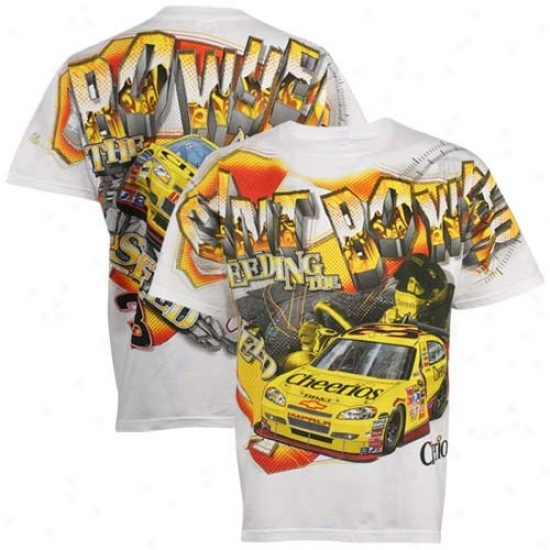 Clint Bowyer Shirts : #33 Clint Bowyer White Tonal Print Shirts