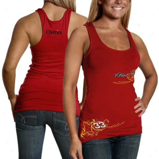 Clint Bowyer Tees : #33 Clint Bowyer Ladies Red Vine Tank Top