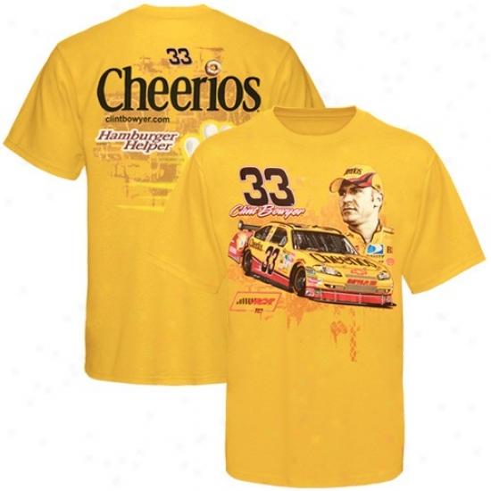 Clint Bowyer Tshirts : #33 Clint Bowyer Gol dTrack Down Tshirts