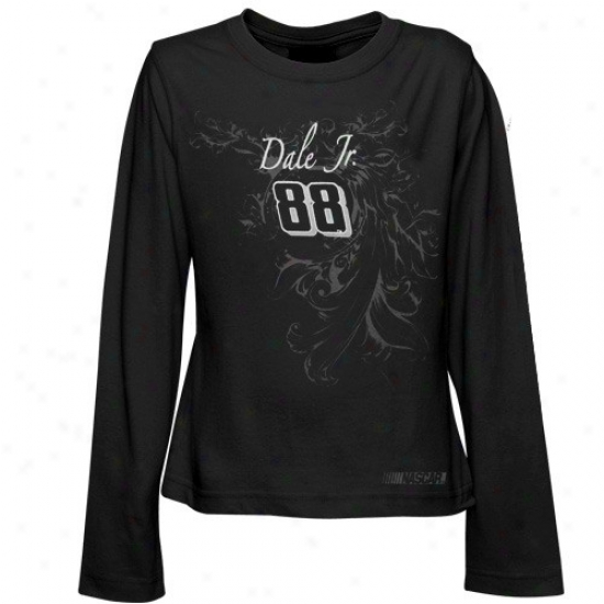 Dale Earnhardt Jr. Apparel: #88 Dale Earnhardt Jr. Youth Girls Black Shadowed A ~ time Sleeve T-shirt