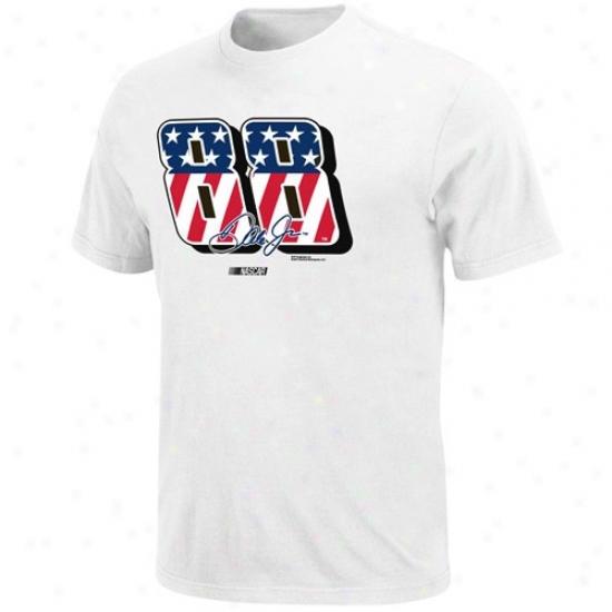 Dale Earnhardt Jr. Apparel: #88 Dale Earnhardt Jr. White Stars & Stripes Number T-shirt