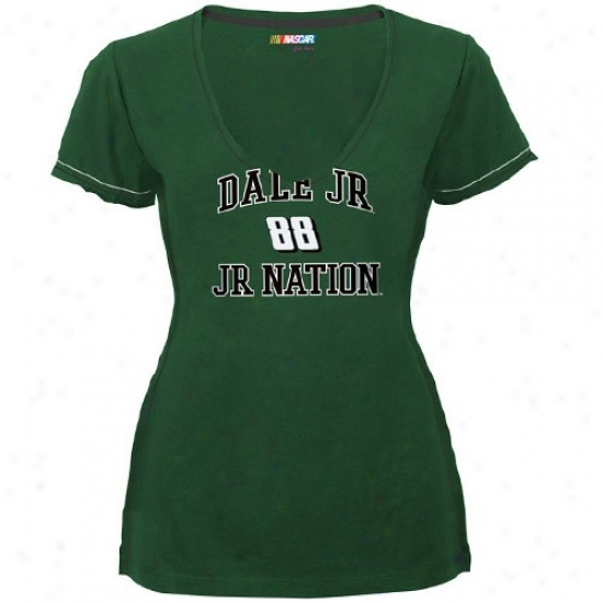 Dale Earnhardt Jr. Apparel: #88 Dale Earnhardt Jr. Ladies Green All My Heart Premium V-neck T-shirt