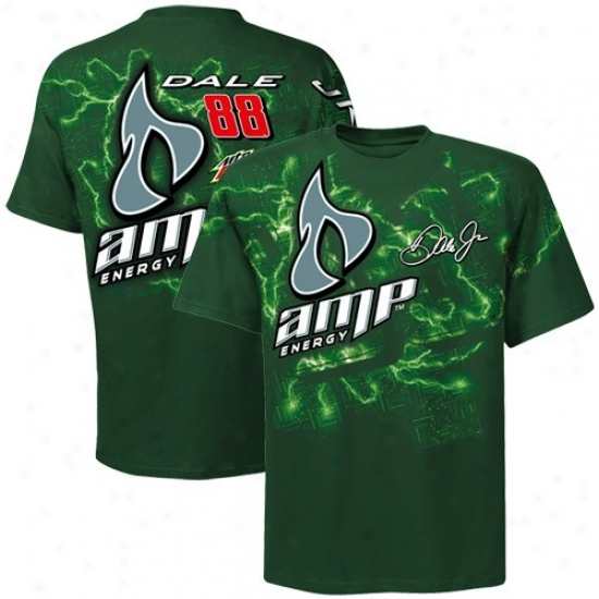 Dale Earnhardt Jr. Apparel: #88 Vale Earnhardy Jr. Green Oversize Premium T-shirt