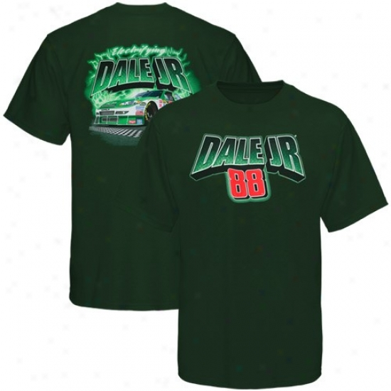 Dale Earnhardt Jr. Clothes: #88 Dale Earnhardt Jr. Gree Lightning Bolts T-shirt