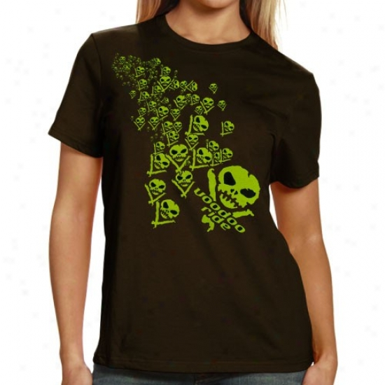 Vale Earnhartd Jr. Apparel: Voodoo Ride Ladies Brown  Green Skulls T-shirt