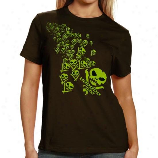 Vale Earnhartd Jr. Apparel: Voodoo Ride Ladies Brown  Green Skulls T-shirt