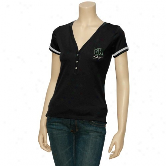 Dale Earnhardt Jr. Attire: #88 Dale Earnhardt Jr. Ladies Black Take A Spin V-neck Top