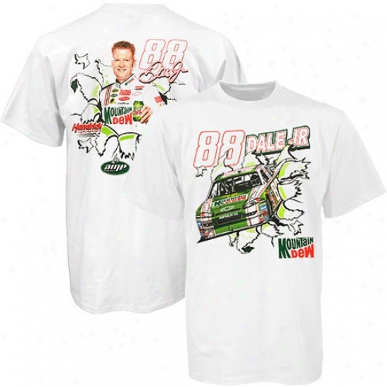 Dale Earnhardt Jr. Attire: Dale Earnhardt Jr. White Mountain Dew Throwback T-shirt