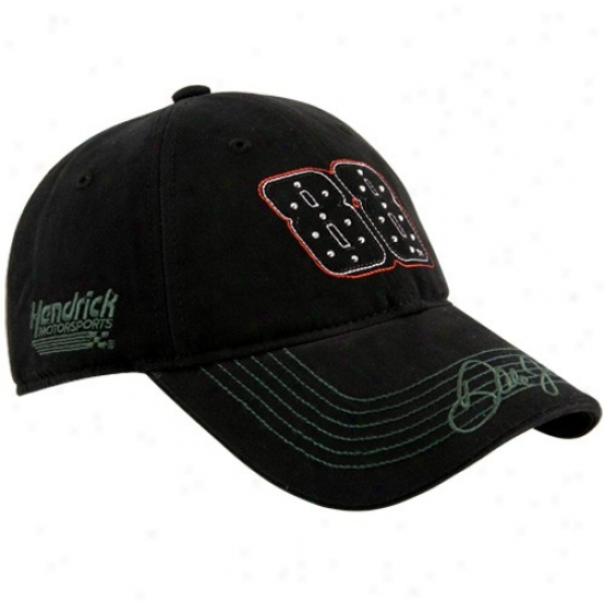 Vale Earnhardt Jr. Caps : Dale Earnhardt Jr. Ladies Black Sparkling Fun Adjustable Caps