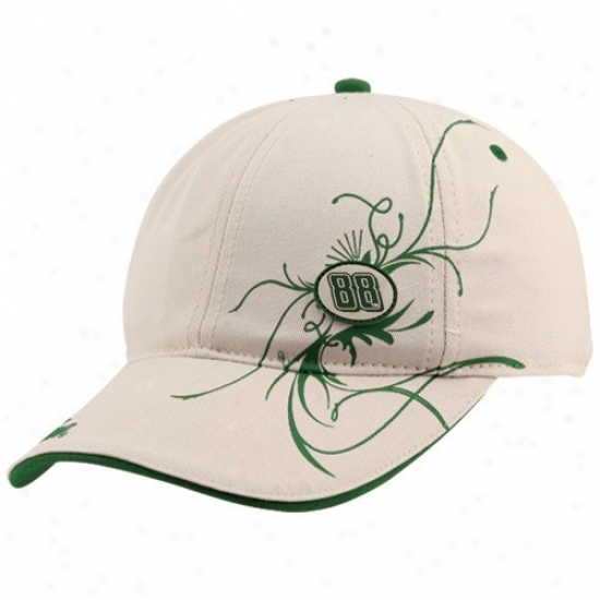 Dale Earnhardt Jr. Gear: #88 Dale Earnhardt Jr. Ladies Khaki Flourished Adjustable Slouch Hat