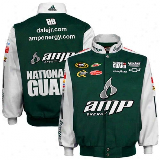 Dale Earnhardt Jr. Jacket : #8 8Dale Earnhardt Jr. Green Twill Uniform Jacket
