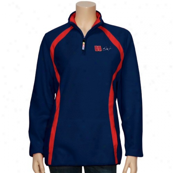 Dale Earnhardt Jr. Jackets : Dale Earnhardt Jr. Ladies Navy Blue Checkered Future 1/4 Zip Fleece Pullover