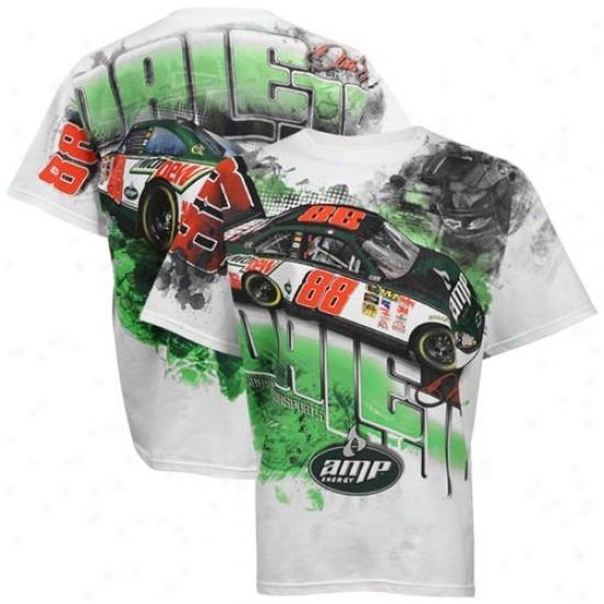 Dale Earhnardt Jr. Shiry : #88 Dale Earnhardt Jr. White Tonal Print Shirt